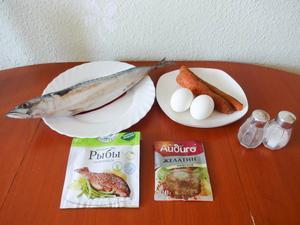 Ингредиенты для приготовления рулета из скумбрии с морковью и яйцами в мультиварке